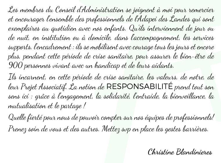 Remerciements Covid-19